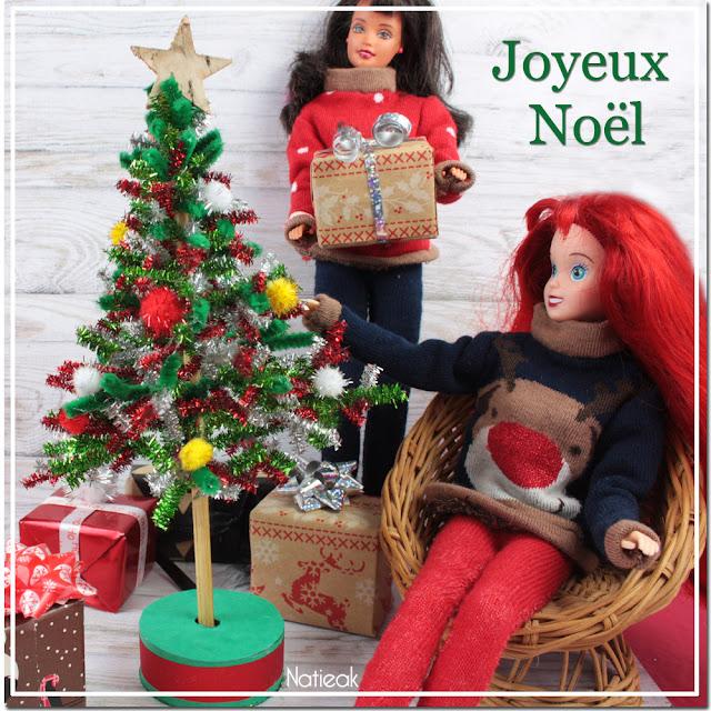 tuto tricot miniature de Noël pour poupée
