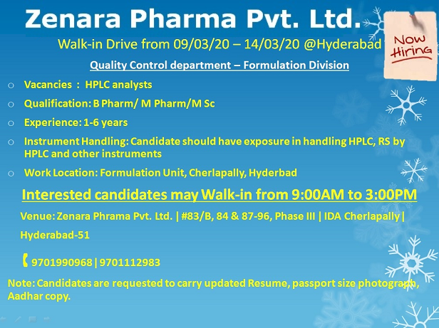 Zenara Pharma Pvt. Ltd – Walk-In Drive for Quality Control from 9th – 14th Mar' 2020