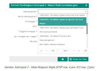 Perubahan Pemetaan Mapel per Kelompok Mapel di Dapodik