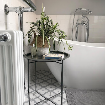 The Rive Droite Bistro table from Garden Trading is perfect for next to the bath to put a plant, drink, book, candle or phone so you don't drop it in the bath!