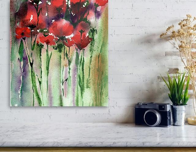 Abstract Watercolor Flowers Red Poppies In Interior Decor artist Irina Sztukowski