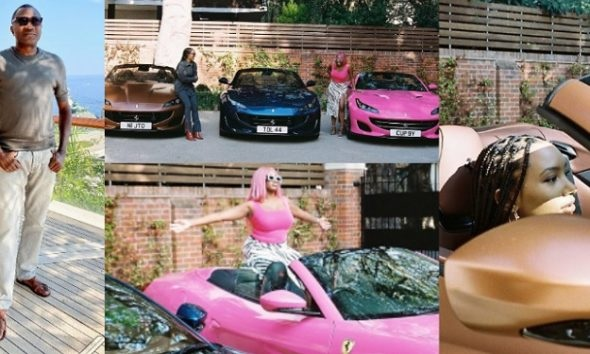 Daddy Of The Year: Billionaire Femi Otedola takes his three daughters shopping, buys them one Ferrari each (Photos)