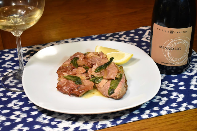 Podere Selva Capuzza Lugana Riserva Menasasso with Veal Saltimboca and Sardine Toast Points