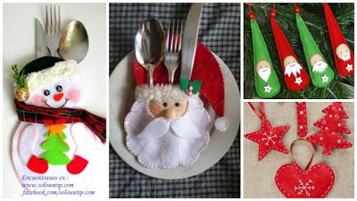 Porta-cubiertos-navideños-fieltro