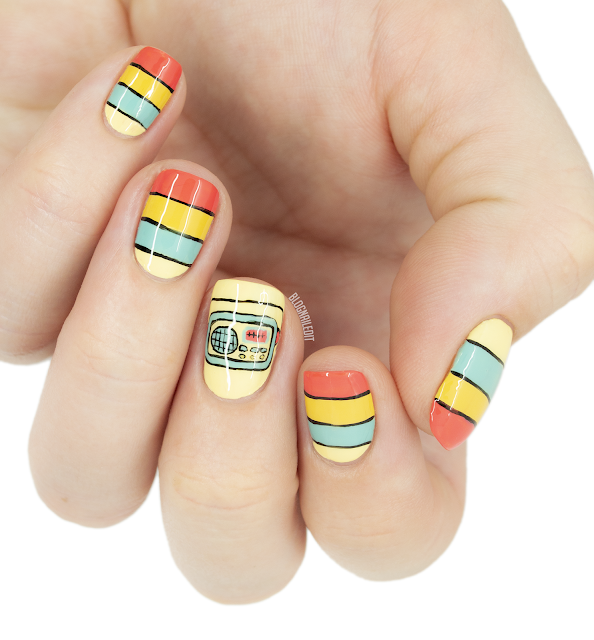 retro vintage radio nail art