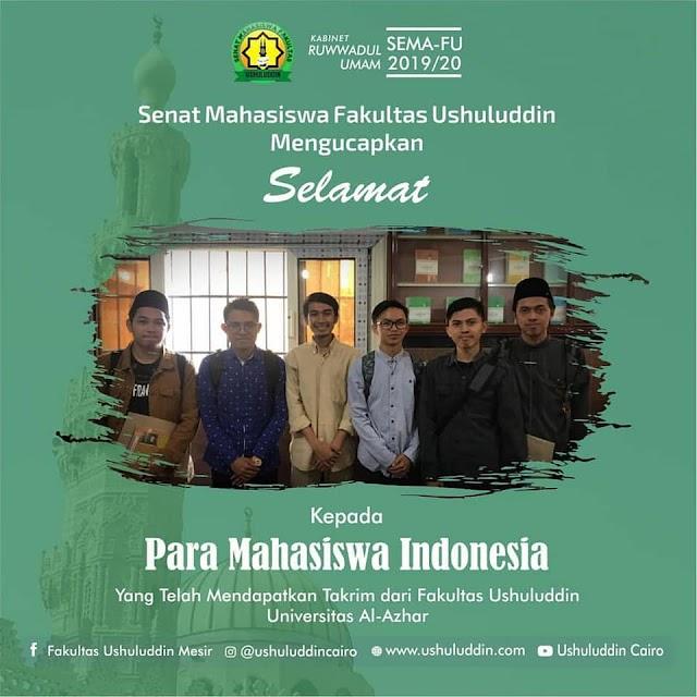 Empat Mahasiswa Indonesia Raih IP Terbaik di Fakultas Ushuluddin Universitas Al-Azhar