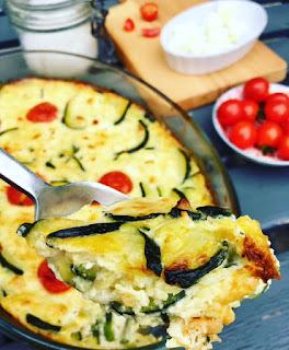 image Clafoutis salé aux courgettes, feta et tomates cerises