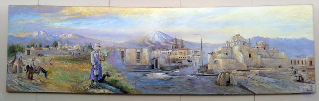 Pintura al óleo, Arequipa, sus volcanes Misti y Chacjhani y su campiña pintura panorámica