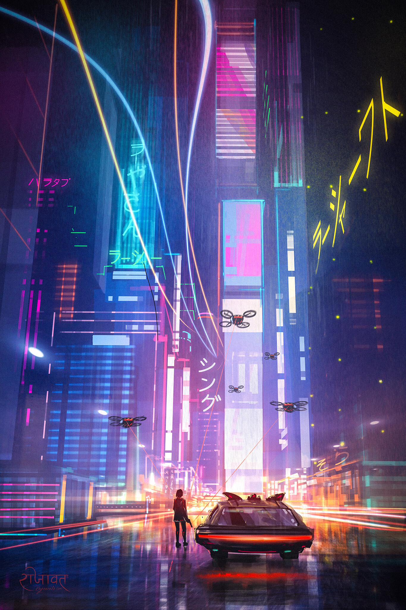 CYBERPUNK WALLPAPER PHONE HD 2077 GAME CAR CITY