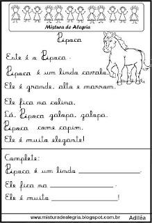 Pequenos textos para alfabetização com cavalo