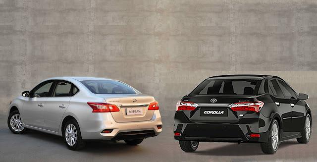 Toyota Corolla x Nissan Sentra 2017 - comparativo