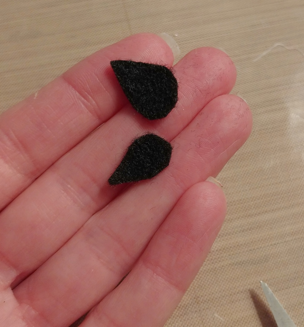 black felt teardrop shapes