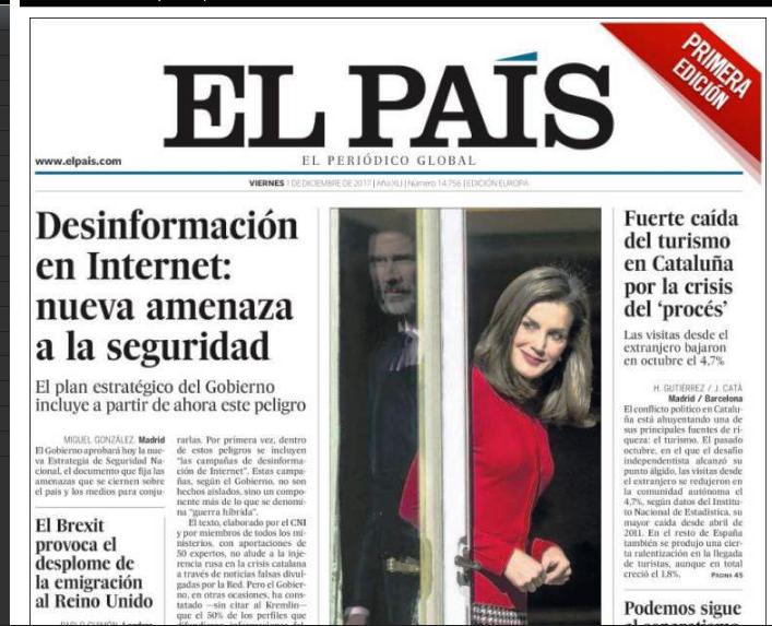 Portada del medio español globalista de este 1 de diciembre