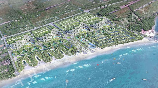 Phối cảnh tổng thể dự án Thanh Long Bay Bình Thuận: bán căn hộ biển và nhà phố biển.