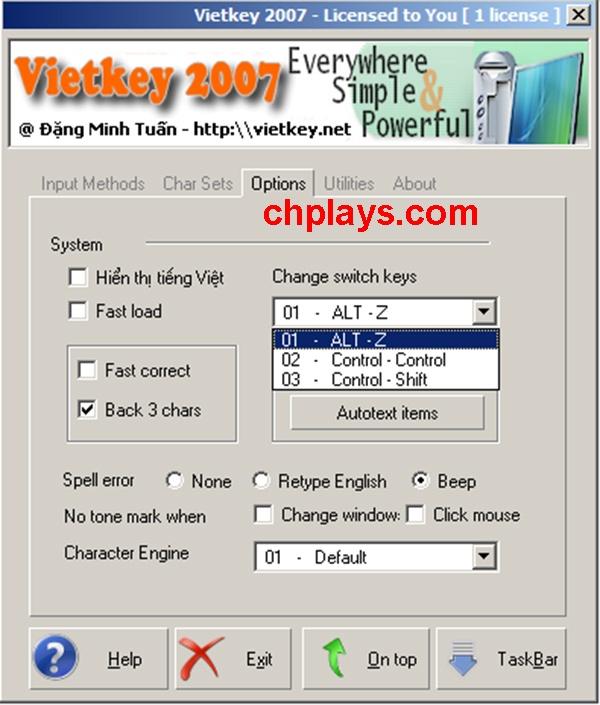 Tải Vietkey 2007 - Gõ tiếng Việt, Soạn thảo văn bản trên máy tính c