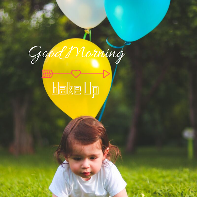 Baby girl with Balloon Good Morning Images