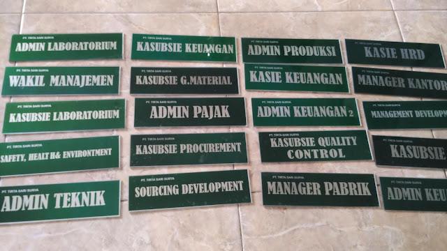 Plang Nama Jabatan di PT