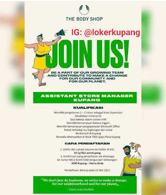 Lowongan Kerja The Body Shop Sebagai Assistant Store Manager Kupang