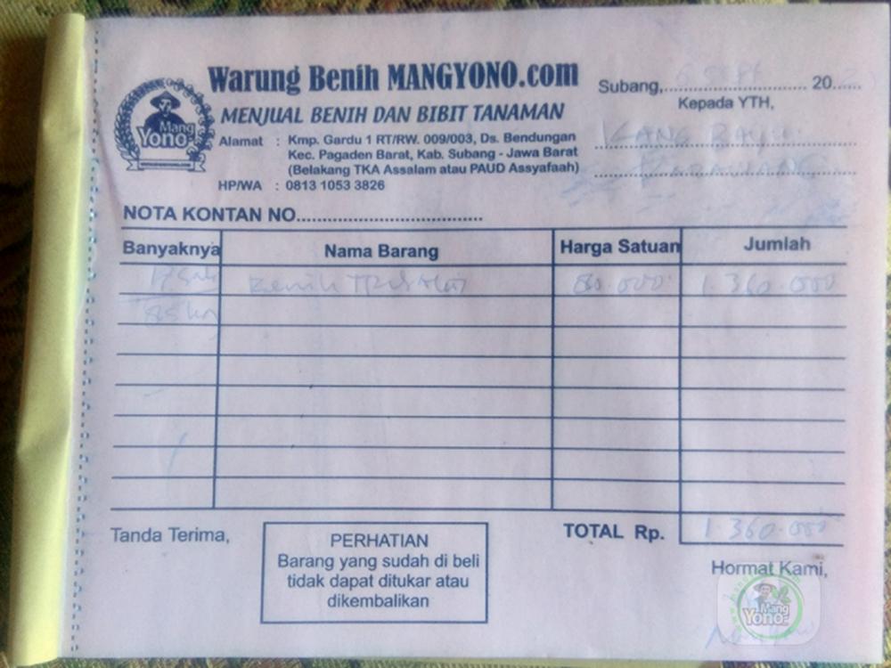 NOTA benih kang BAYU Karawang, Jabar..