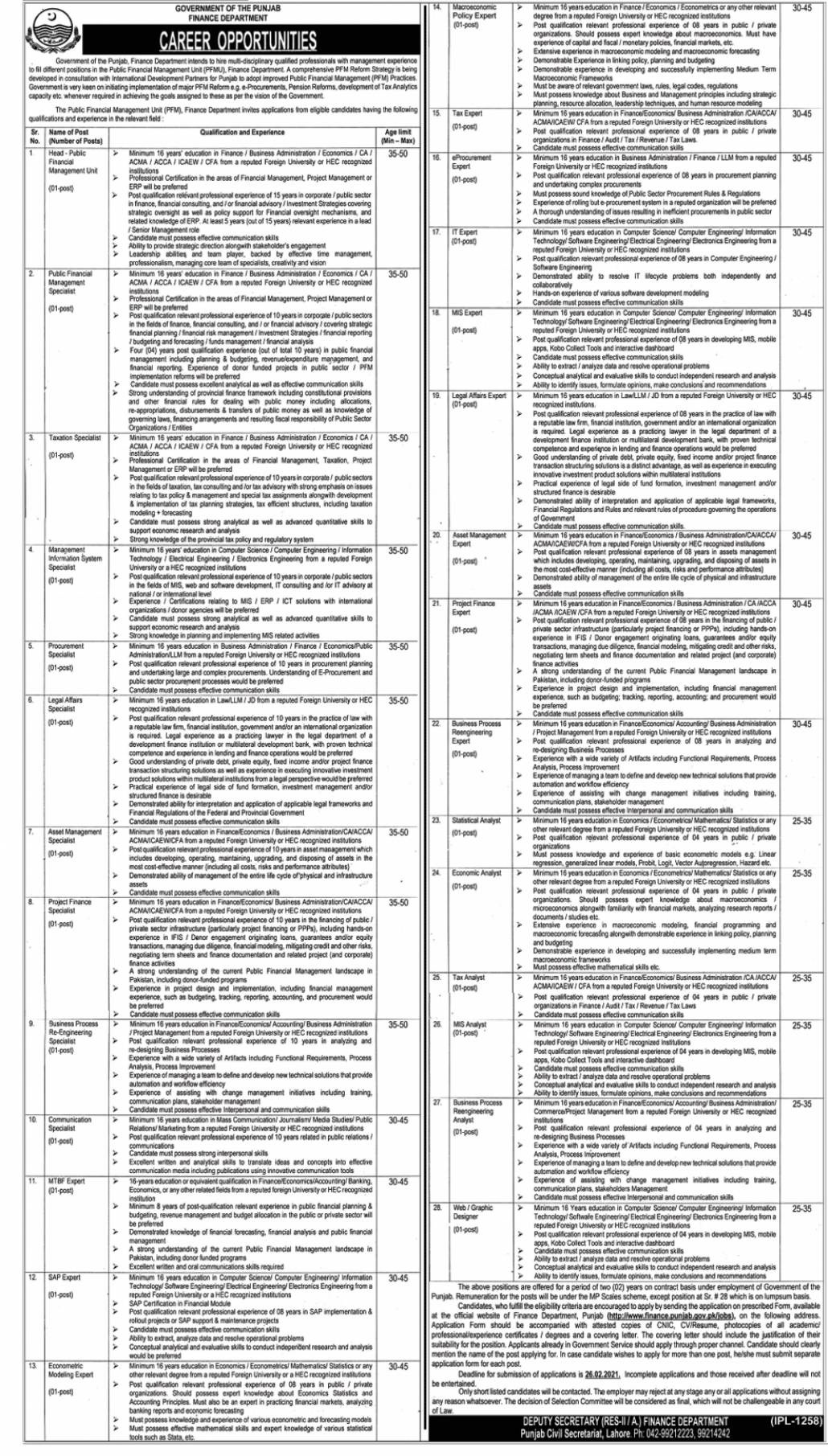 Finance Department Punjab Jobs 2021