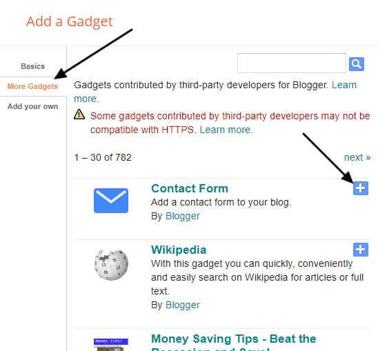 add contact form widget