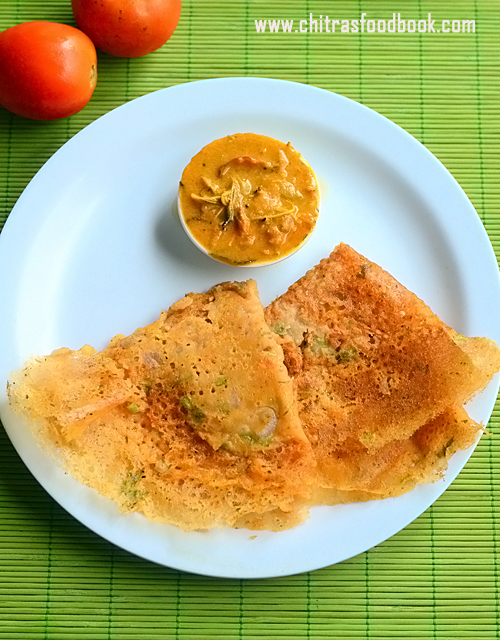Instant tomato dosa with rice flour