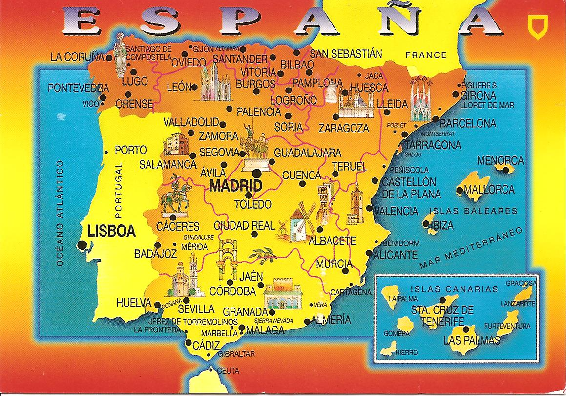 My Postcard Page Spain Map