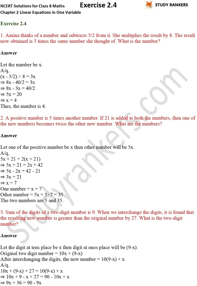 NCERT Solutions for Class 8 Maths Chapter 2 Linear Equations in One Variable Exercise 2.4 Part 1