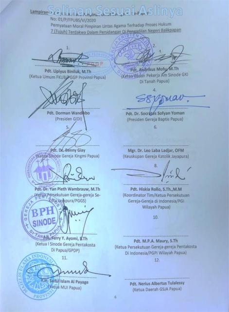 Menyikapi Proses Hukum 7 Tapol Rasisme, Ini Pernyataan Pimpinan Umat Beragama Se-Papua