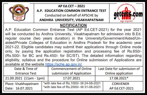 AP Edcet notification 2022-2023, b.ed apply online at sche.ap.gov.in