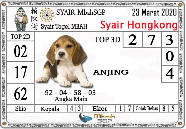 Prediksi Togel Hongkong Senin 23 Maret 2020 - Syair Mbah HK