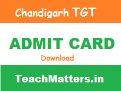 image : Chandigarh TGT Admit Card 2015
