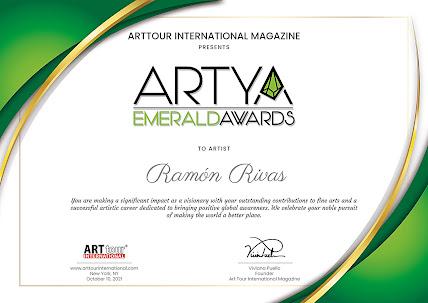 Certificado-Diploma del Premio EMERALD ARTYA 2021, entregado a Ramón Rivas