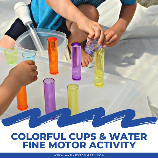 Water fine motor activity for toddlers and preschoolers using colorful cups