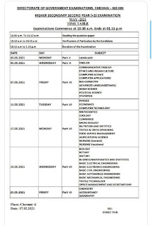 12th Public Exam  Time Table 2020-21 in Tamil Nadu
