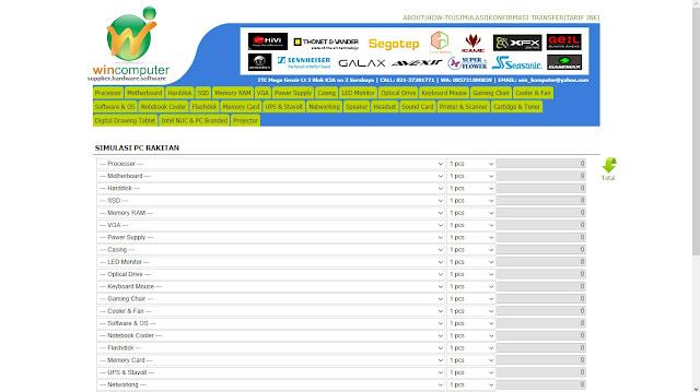 Website simulasi rakit PC - winkomputer.com