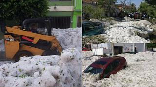 Πρωτοφανής χαλαζόπτωση, δρόμοι θάφτηκαν σε πάγο ύψους 1,5 μέτρου