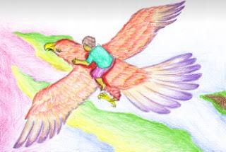 contoh ilustrasi gambar imajinatif menaiki burung
