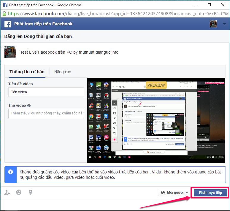 Hướng dẫn Live Stream trên Facebook từ máy tính
