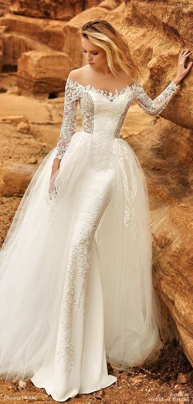 70c1cf4b5927 Oksana Mukha 2019 fit to flare wedding gown One piece fitted dress with long  sleeves ...