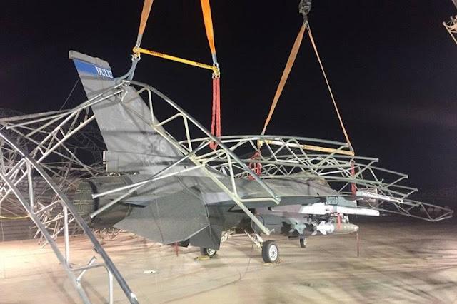 Battle damaged F16 return service