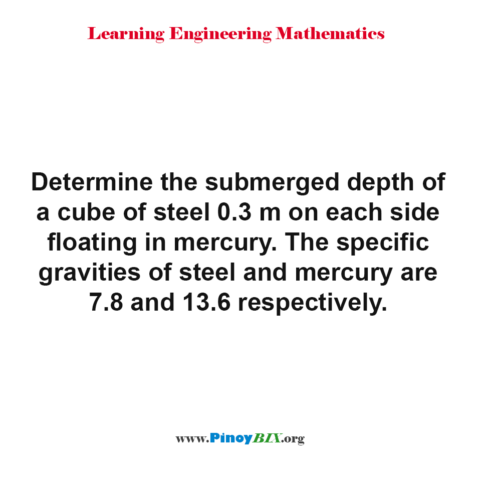 Determine the submerged depth of a cube of steel 0.3 m on each side floating in mercury.