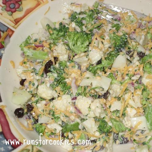 Broccoli Cauliflower Salad with Raisins