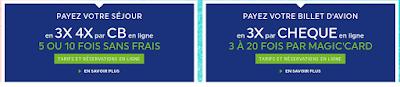 Payer son billet d'avion en 3x par chèque en ligne sans frais 3 à 20 fois par Magic Card de Magic Club Voyages