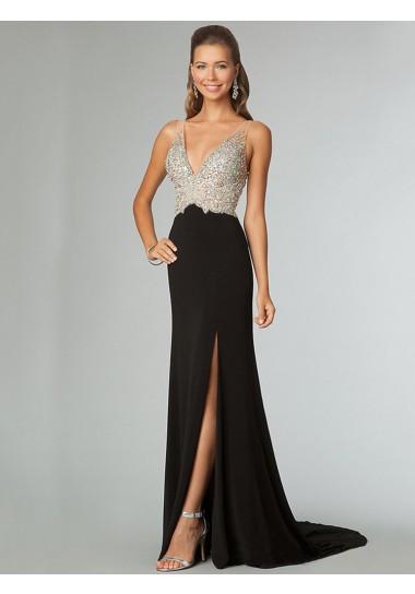 A-line V-neck Chiffon Rhinestone Prom Dresses/Evening Dresses #BK520