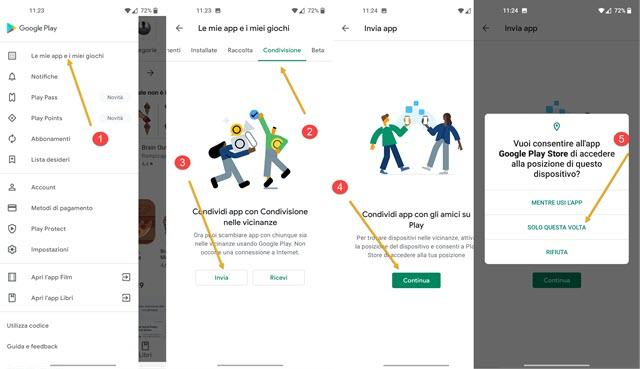 condivisione app android tra dispositivi
