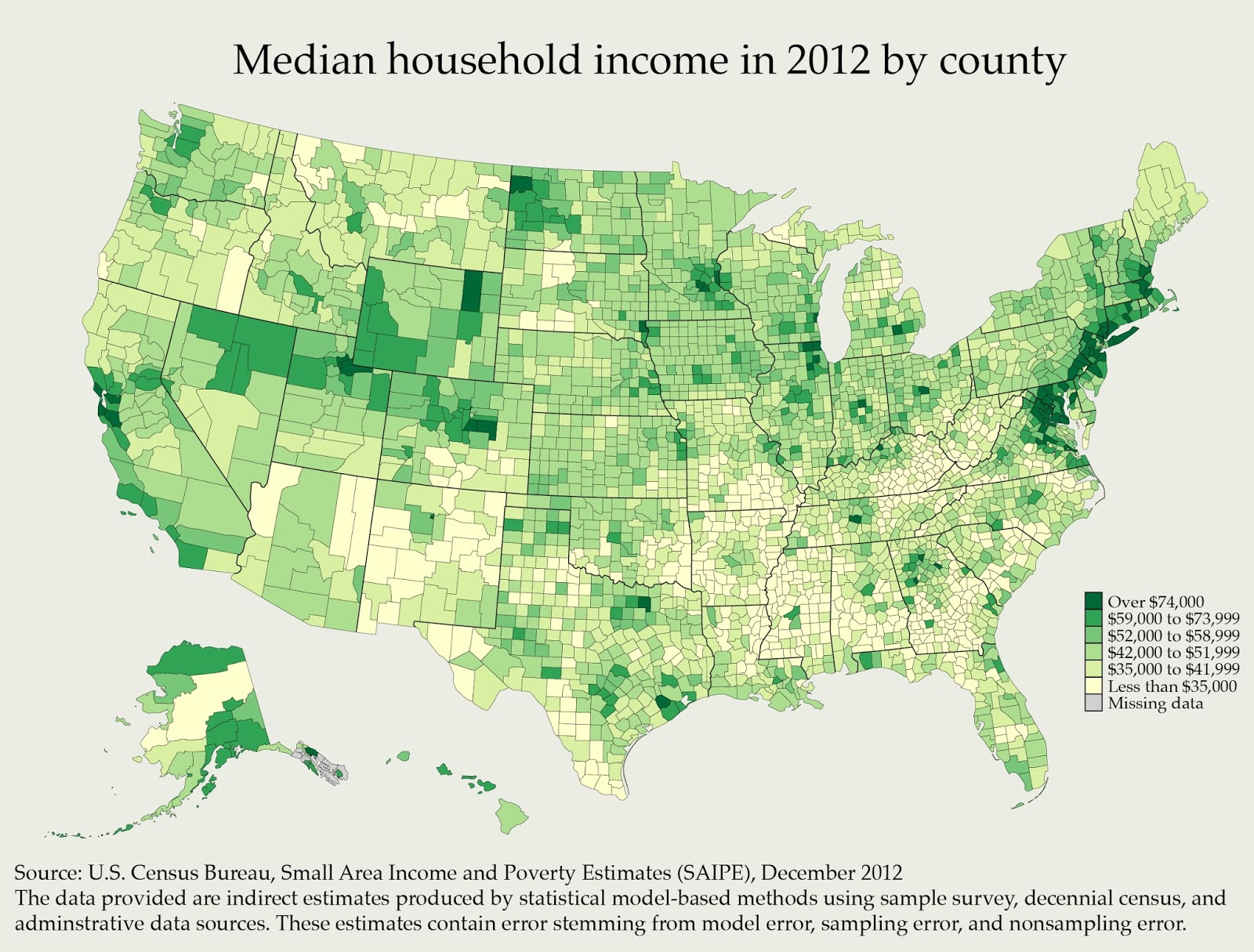 Median household income by county