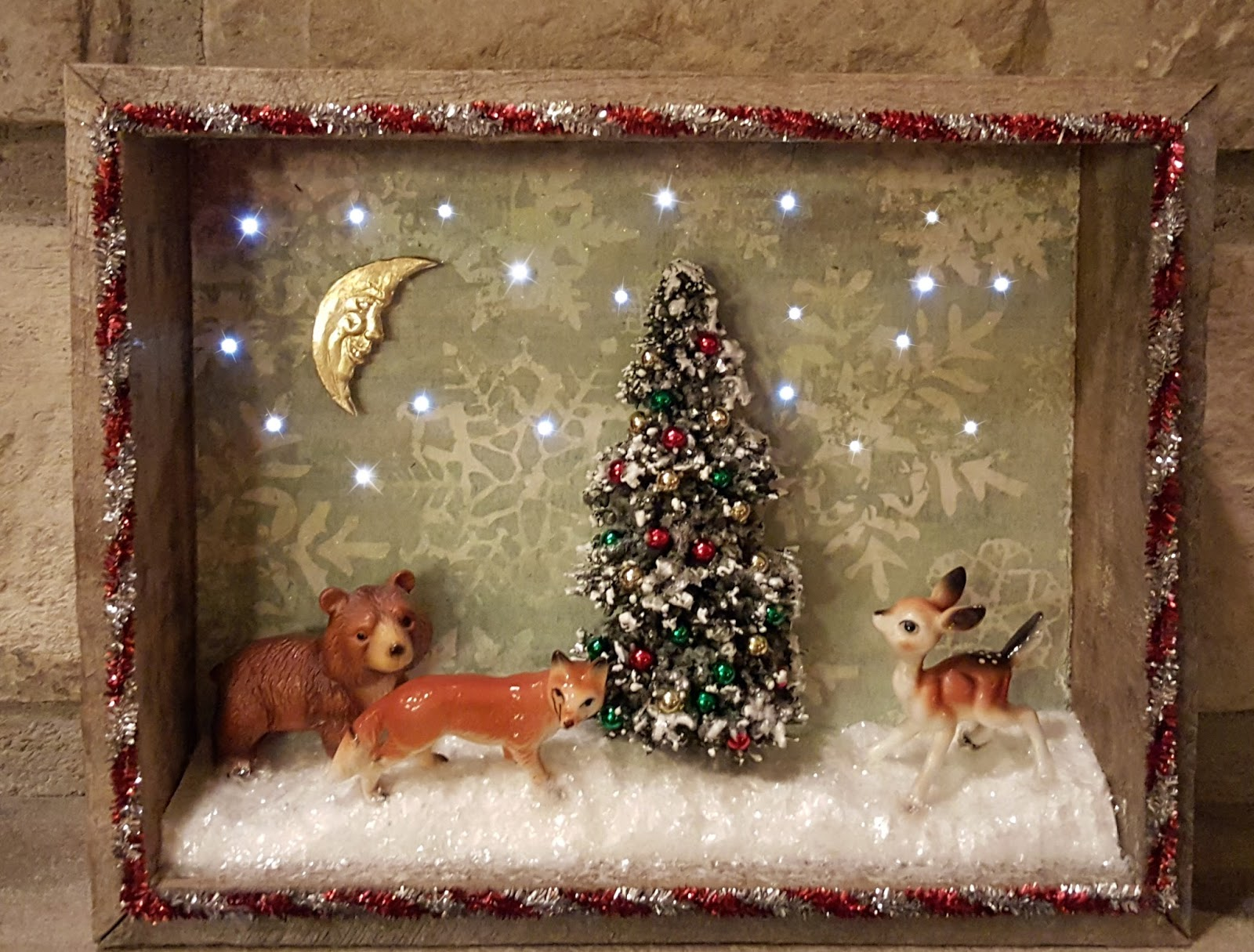 Create A Vintage Christmas Scene In An Illuminated Rustic Shadowbox