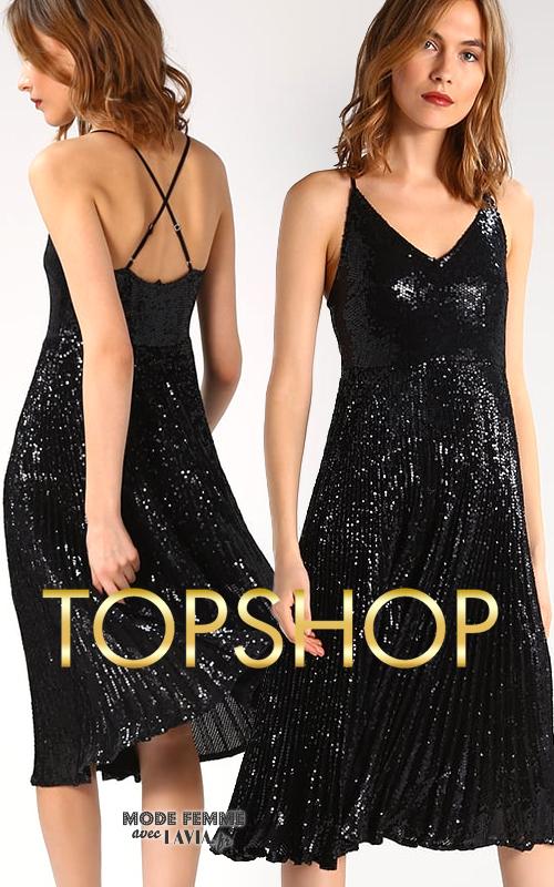 Robe noire plissée mi-longue pailletée fines bretelles croisées TOPSHOP