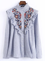 1478928554562260023 - STRIPED EMBROIDERED RUFFLE SHIRT
